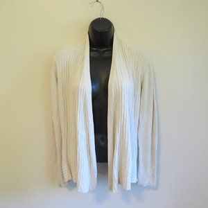 EILEEN FISHER Open Front Silk Ribbed Cardigan
